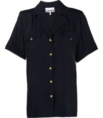 ganni slouchy button-up shirt - blue