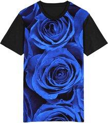 camiseta tshirt migian rosas blue sublimada azul - azul - dafiti
