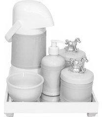 kit higiene espelho completo porcelanas, garrafa e capa cavalinho prata quarto bebê unissex