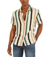 guess men's eco art slim-fit stripe shirt