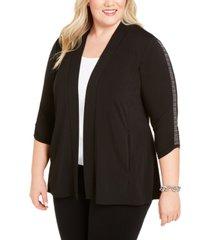 belldini plus size embellished-sleeve cardigan