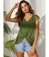 camiseta con mangas y cuello en v de diseño verde militar retorcido yoins