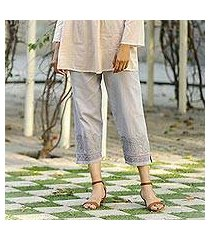 cotton cropped pants, 'paisley greys' (india)