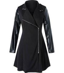 plus size pu leather panel mixed-media zip up coat