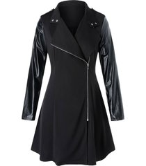 plus size pu leather panel mixed-media zip up coat