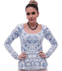 blusa ficalinda manga longa estampa exclusiva azulejo português decote redondo evasê