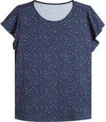 blusa floral c/r color azul, talla l