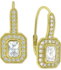 cubic zirconia art deco leverback drop earrings in 18k gold-plated sterling silver