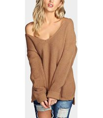 suéter de punto suelto con cuello en v y diseño clásico de color caqui