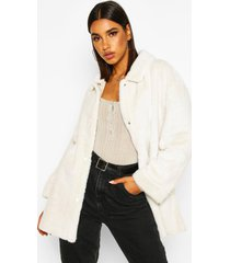belted faux suede lined faux fur coat, cream