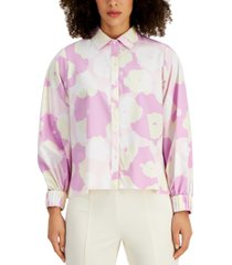 alfani stretchy printed button-up shirt, created for macy's