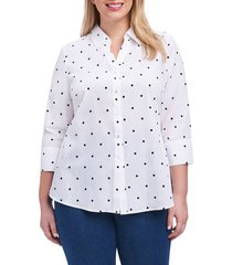 plus size women's foxcroft mary dot print shirt