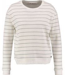 garcia korte off white sweater met zilverdraad streep
