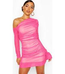 jurk met eén open schouder en ruches, roze