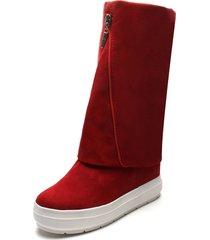 botas casual fashion plataformas color rojo con detalle de cremallera anuwa suede