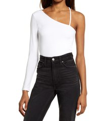 kuwalla one-shoulder long sleeve bodysuit, size x-small in white at nordstrom
