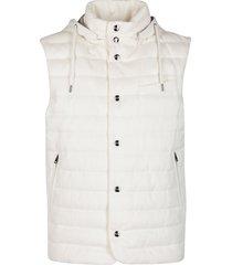 herno white silk-cashmere blend gilet