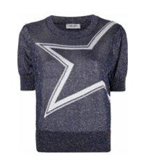 liu jo blusa de tricô com estampa de estrela - azul