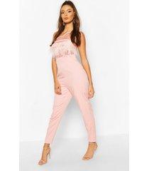 one shoulder panelled feather trim jumpsuit, soft pink