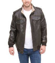 levi's men's big & tall sherpa lined faux leather aviator bomber jacket