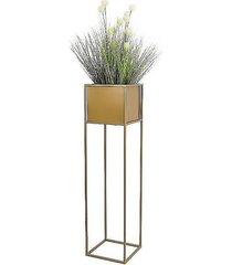 kwietnik metalowy ze skrzynia złoty 90 cm