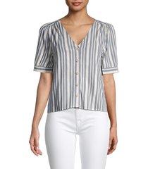 madewell women's plaza puff-sleeve striped shirt - bold texture - size m