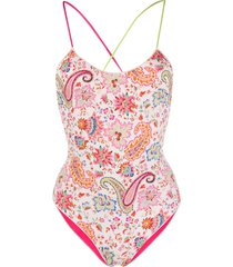 etro printed reversible swimsuit - neutrals