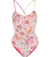 etro printed reversible swimsuit - neutrals