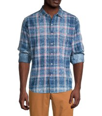 tommy bahama men's beach plaid button-down shirt - bering blue - size xs