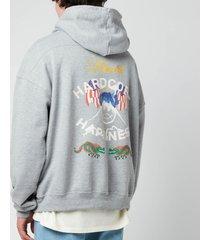 rhude men's hardcore eagle graphic hoodie - heather grey - m