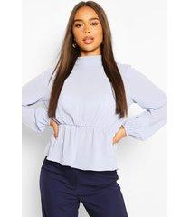 geweven peplum blouse met hoge kraag, lichtblauw