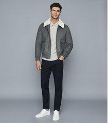 reiss barton - ribbed zip neck polo shirt in grey melange, mens, size xxl