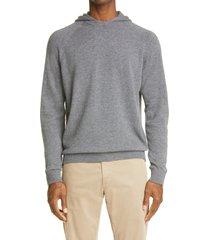 men's eleventy men's wool & cashmere hoodie, size xx-large - grey