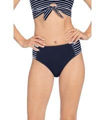 women's robin piccone sailor high waist bikini bottoms, size x-small - blue
