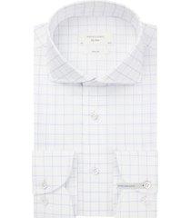 profuomo overhemd mouwlenge 7 blauw wit slim fit