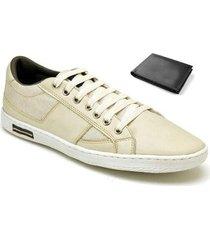 kit sapatênis casual + carteira valesconi calçados masculino - masculino