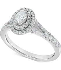 diamond oval double halo engagement ring (3/4 ct. t.w.) in 14k white gold