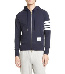 men's thom browne classic 4-bar zip cotton hoodie, size 1 - grey