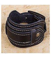 leather wristband bracelet, 'rugged black' (peru)