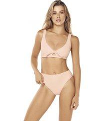 bikini peach tiro alto coral lisantino