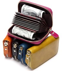 vintage waxy vera pelle multi-slot titolare della carta monete borsa portafoglio