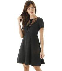 vestido aha curto com saia rodada liso detalhe de renda feminino - feminino