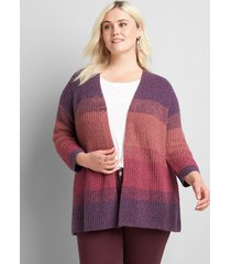 lane bryant women's 3/4-sleeve open-front cardigan 14/16 multi stripe