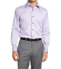 men's big & tall david donahue trim fit geometric dress shirt, size 18 - 36/37 - purple
