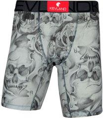 cueca boxer long leg kevland big skulls cinza - cinza/preto - masculino - dafiti