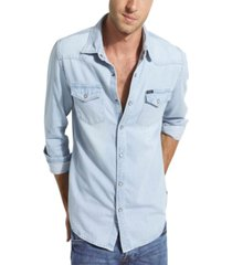 guess men's western denim shirt