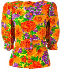 givenchy pre-owned 1980's floral print belted top - multicolour