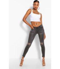 low rise rip knee skinny jeans, grey
