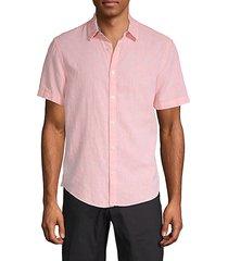 cotton & linen blend button-down shirt