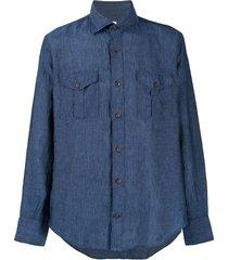 eleventy straight-fit linen shirt - blue